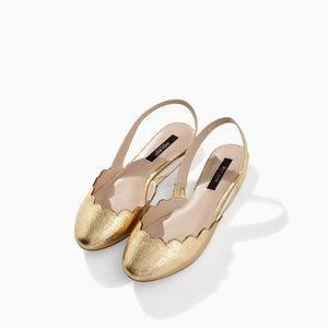 Zara Size 7.5 Gold Scalloped Slingback Flats
